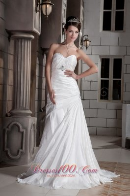 Asymmetrical Princess Sweetheart Wedding Dress Train