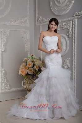 Sweetheart Mermaid Layered Wedding Gown Brush Train
