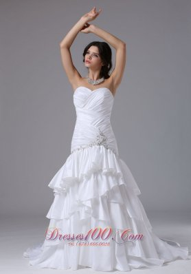 Ruched Sweetheart Bodice Layered Bridal Gown Chapel Train