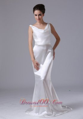 Mermaid V-neck Sweep Unique Garden Wedding Dress