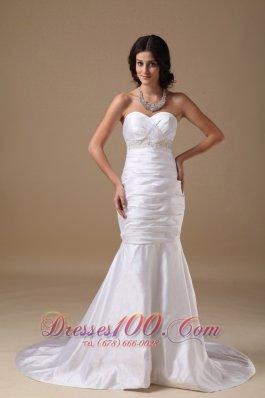 Ruched Sheath Mermaid/trumpet Brush Train Wedding Gown
