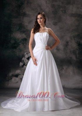 Taffeta A-line Strapless Wedding Dress Chapel Train Beading