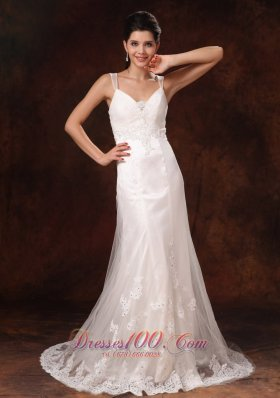 Straps V-neck Lace Wedding Dress Trumpet Brush Train