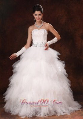 Feather Beaded Decorate Waist Sweetheart Wedding Dress