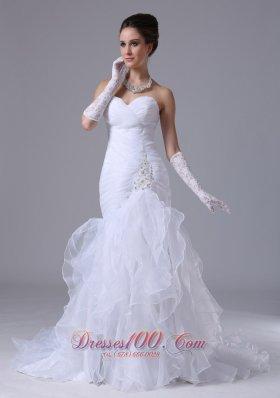 Sweetheart Ruched Bodice Mermaid Style Ruffle Wedding Dress