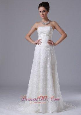 Strapless Bowknot Column Strapless Beautiful Wedding Dress