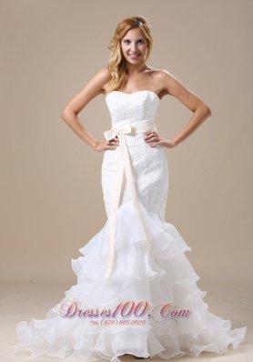 Sweetheart Mermaid Wedding Dress Ruffles Sash