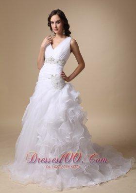 V-neck Beaded Wedding Dress Brush Train Ruffles