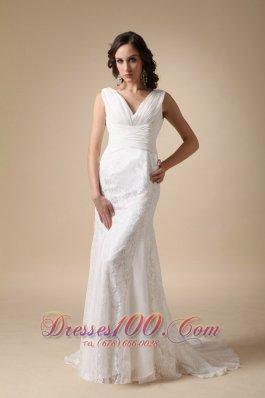 Coloumn V-neck Wedding Dress Chiffon Brush Train