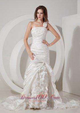 Wedding Dress Asymmetrical Hand Made Flower One Shoulder