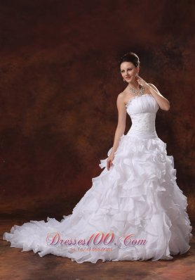 Strapless Appliques and Ruffles Wedding Dress