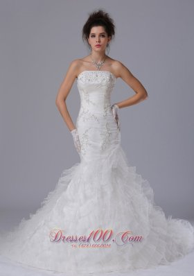 Mermaid Strapless Beaded Wedding Gown with Brush Train