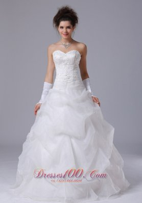 Sweetheart Beading Pick-ups A-line Wedding Gown