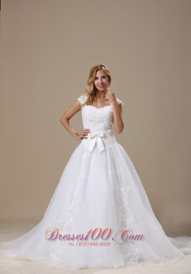 Square Cap Sleeves and Sash Wedding Dress Chapel Train