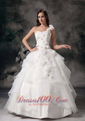 Hand Made Flower Ball Gown Wedding Gown Layer