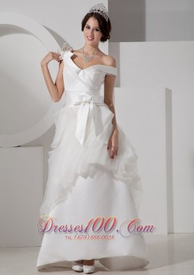 A-line V-neck Satin Bridal Gown Floor Length