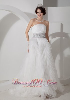 Strapless Beading Sash Rolling Flower Wedding Gown
