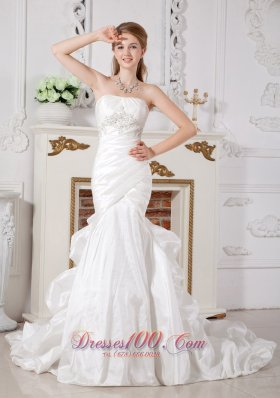 Looking Wedding Dress Chapel Train Ruched Bodice