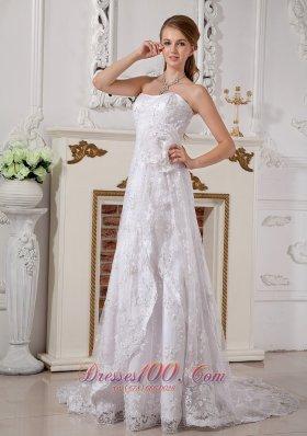 Lace Summer Wedding Dress Brush Train 2014