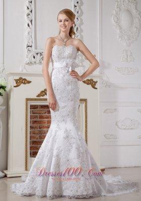 Mermaid Strapless Lace Wedding Dress Court Train