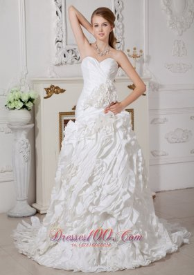Wedding Dress Sweetheart Rolling Flower Brush Train