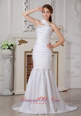 Detachable Mermaid One Shoulder Ruch Wedding Dress