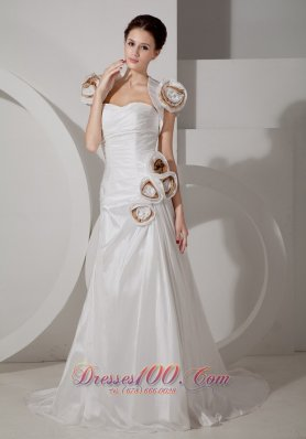 Hand Made Flower Sweetheart Wedding Dress with Straps
