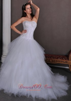 Strapless Satin and Tulle Elegant Wedding Gown