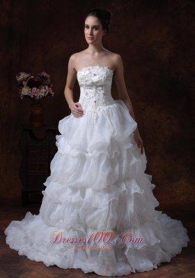 Tiered Skirt Beading Wedding Dress Brush Train