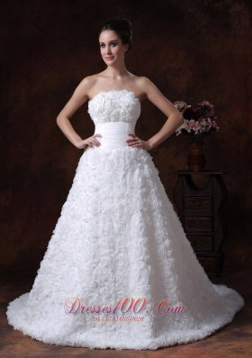 Wedding Gown with Rolling Flowers Strapless A-line Brush Train