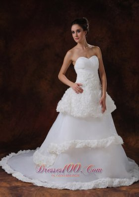 Rolling Flowers Luxurious Strapless A-Line Wedding Gown