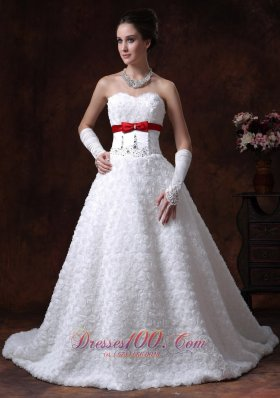 Sweetheart Rolling Flowers Strapless Princess Wedding Gown