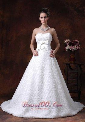 Wedding Dress Rolling Flower Sweetheart A-line Bowknot Train
