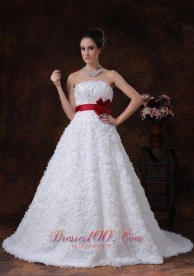 Rolling Flower Sweetheart Wedding Dress Bowknot Brush Train
