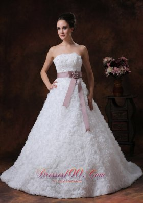 Rolling Flower Sash Wedding Gown A-line Maternity dress