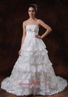 Tiered Skirt White Princess Wedding Dress Organza