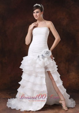 Bodice High Slit Sexy Wedding Gown Trumpet Layered