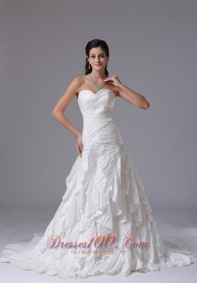 Sweetheart Wedding Gown Ruffles Brush Train