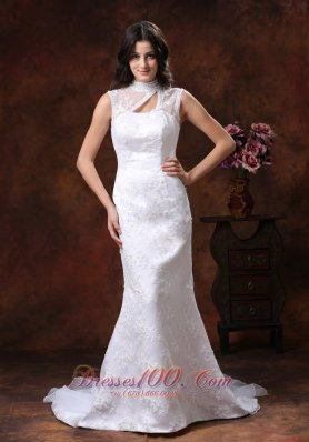 High Neck Lace Wedding Dress Mermaid with Train