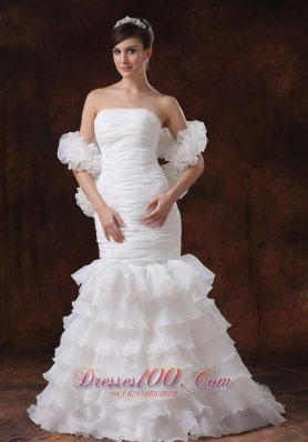 Mermaid Organza Ruch Wedding Dress Ruffles 2013
