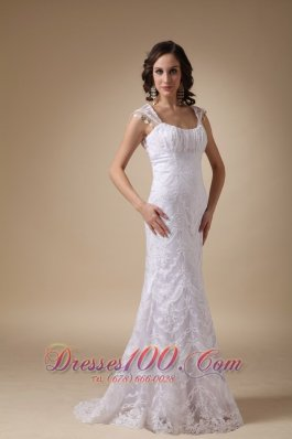 Square Brush Train Satin and Lace Cap Sleeves Wedding Dress