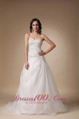 Wedding Gown Sweetheart Court Train Taffeta and Tulle Beading