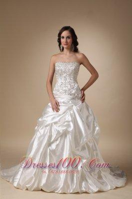 Dropped Waist Wedding DressTaffeta Pick-ups Corset Back
