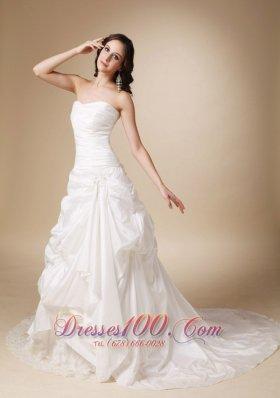 A-line Wedding Dress Dropped Waist Lace Chapel Train