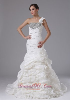 One Shouler Rolling Flower Mermaid Wedding Gown Ruched Beading