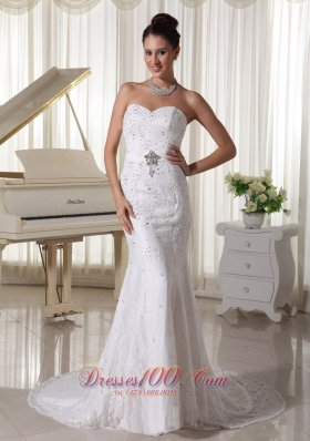 Sheath Wedding Gowns With Beading and Lace Court Train