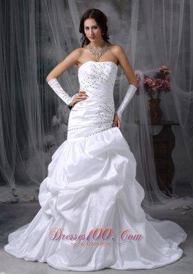 Asymmetric Mermaid Skirt Wedding Dress with Beads