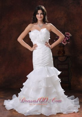 Floral Sweetheart Wedding Gown with Mermaid Ruffles