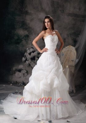 Princess Court Train Wedding Dress with Organza Pick-ups