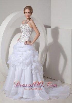 Heavy Beaded Ruffles Bridal Dresses Court Train